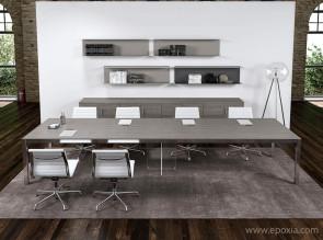 Grande table de réunion Zefiro en mélaminé chêne gris