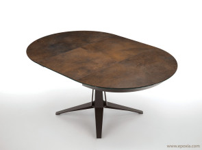 Table ronde extensible Link cristal céramique corten