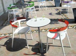 Tables outdoor rondes stratifié blanc et béton