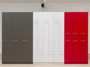 Vestiaires Oxwood en mélaminé disponibles dans 42 coloris et 3 modèles différents